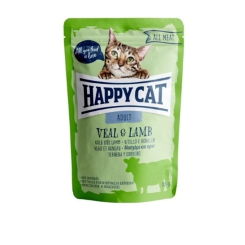 Happy Cat All Meat Adult alutasakos 85 g - Borjú és bárány