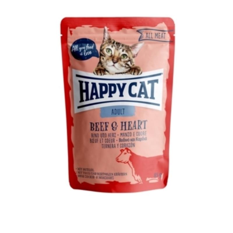 Happy Cat All Meat Adult alutasakos 85 g - Marha és szív