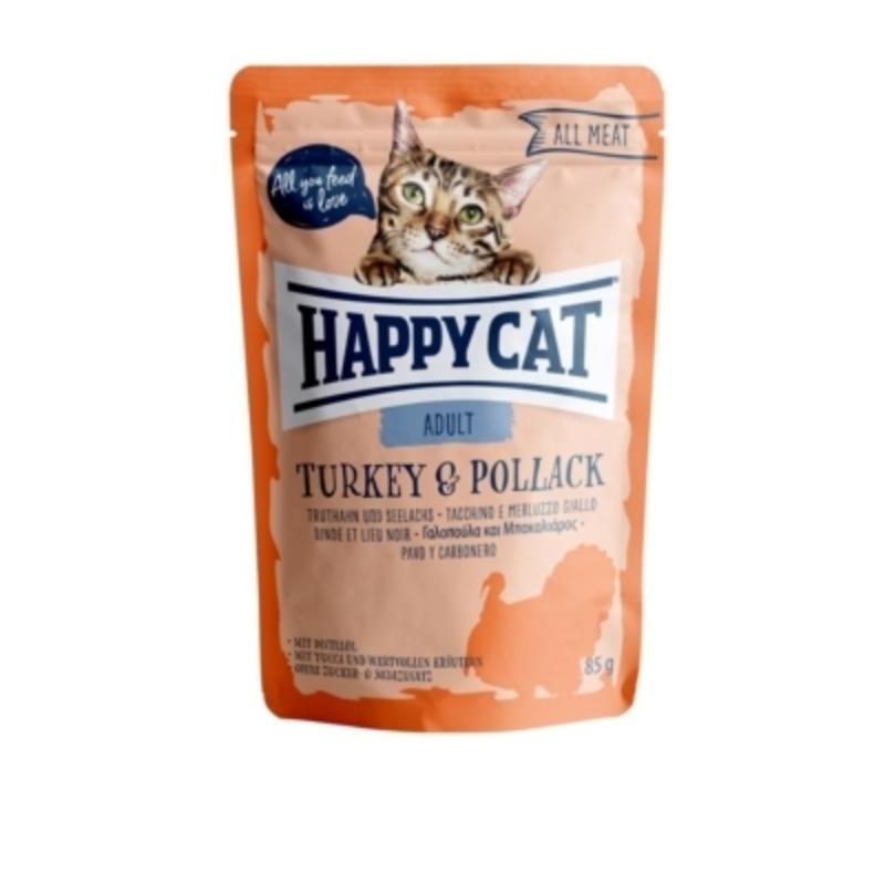 Happy Cat All Meat Adult alutasakos 85 g - Pulyka és tőkehal