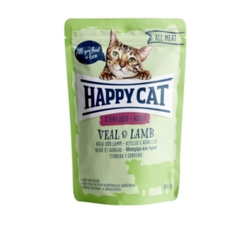 Happy Cat All Meat Adult Sterilised alutasakos 85 g - Borjú és bárány
