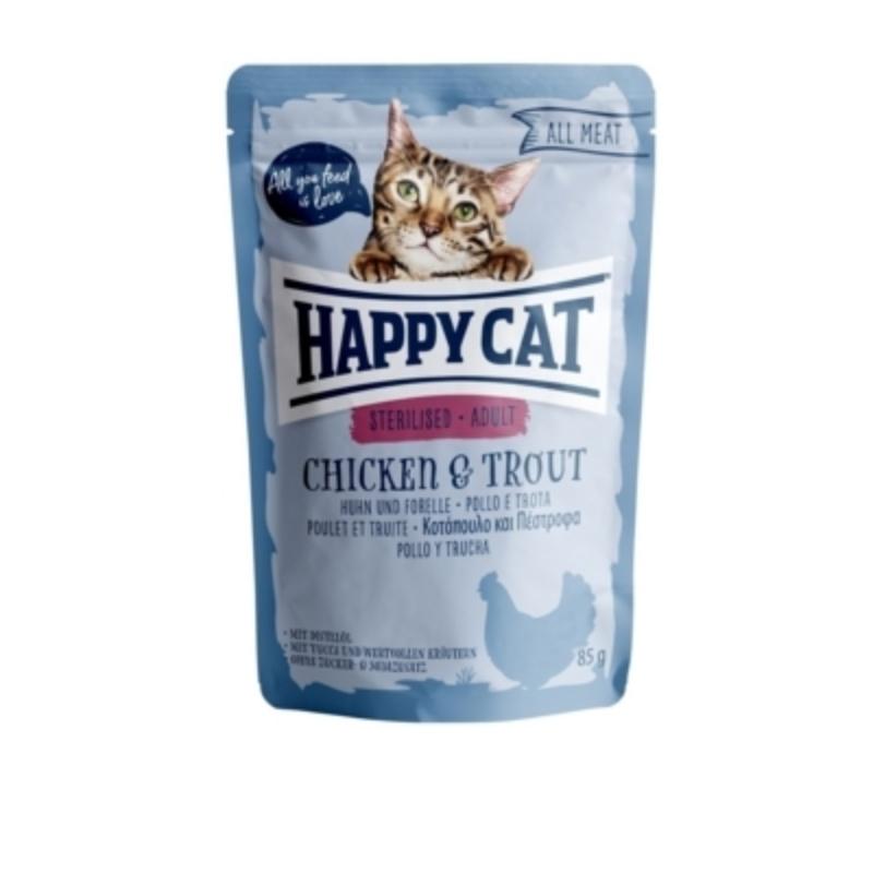 Happy Cat All Meat Adult Sterilised alutasakos 85 g - Csirke és pisztráng