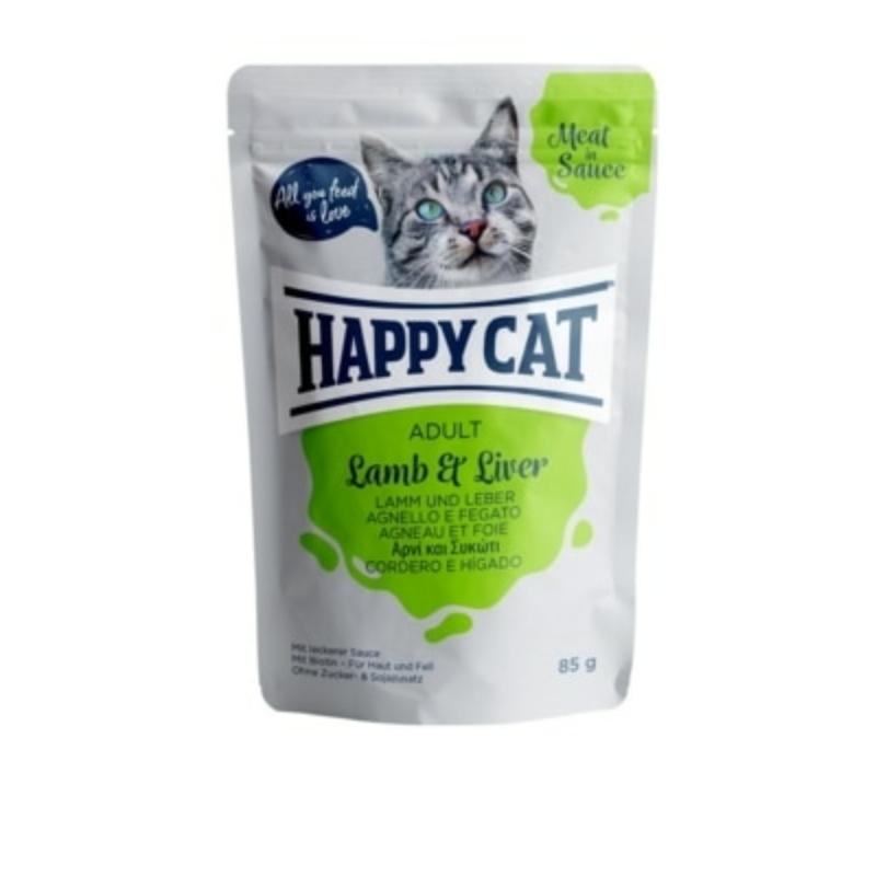 Happy Cat Meat in Sauce Adult alutasakos 85g - Bárány és máj