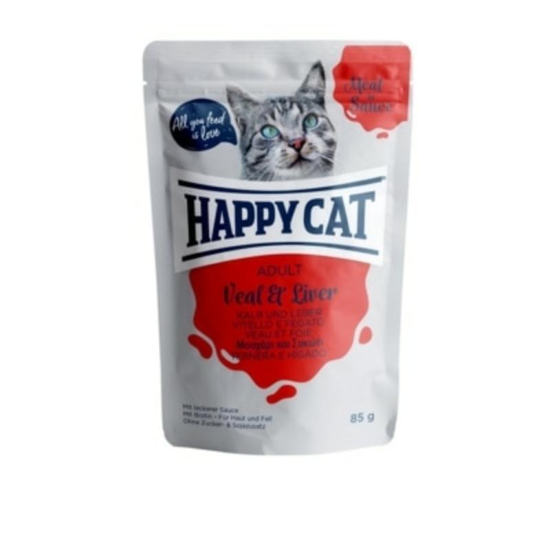 Happy Cat Meat in Sauce Adult alutasakos 85g - Borjú és lazac