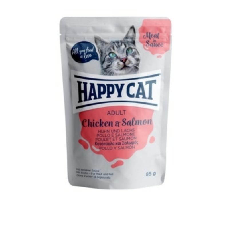 Happy Cat Meat in Sauce Adult alutasakos 85g - Csirke és lazac