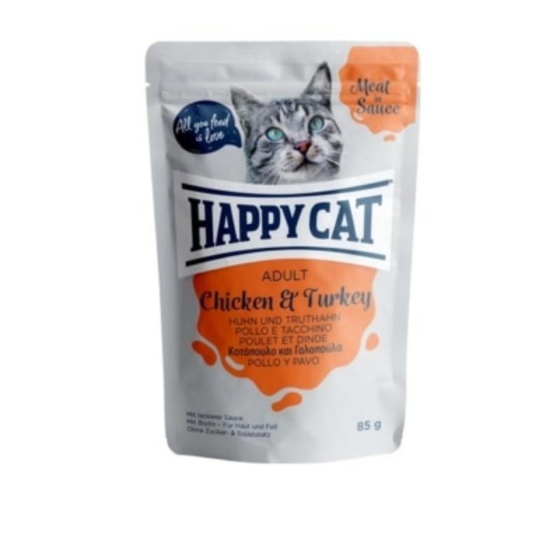 Happy Cat Meat in Sauce Adult alutasakos 85g - Csirke és Pulyka