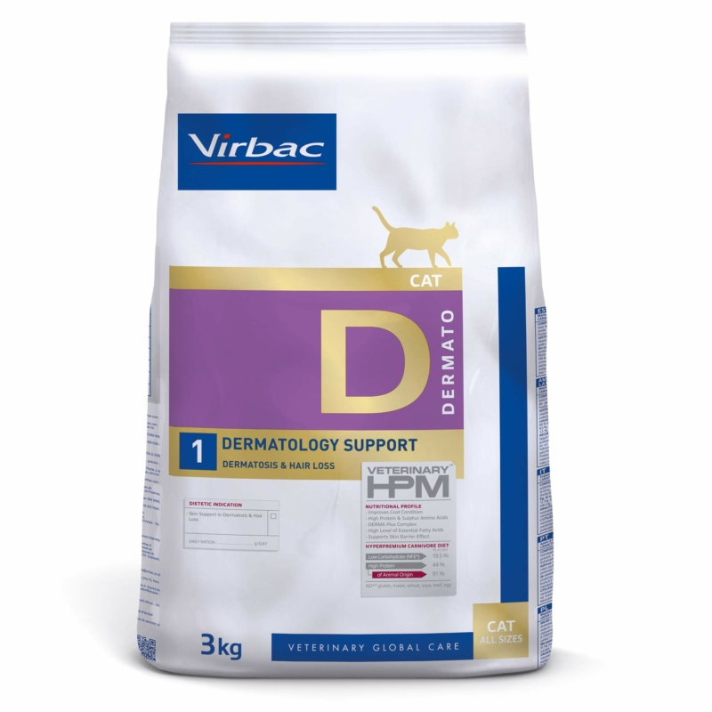Virbac HPM Diet Cat Dermatology Support 3 kg