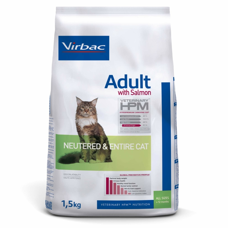 Virbac HPM Adult With Salmon Neutered & Entire Cat 1,5 kg